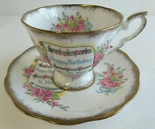 ROYAL STANDARD HAPPY BIRTHDAY TEA CUP ROSE BOUQUET 2729 1950s England Bone China