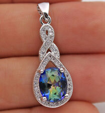 18K White Gold Filled - Blue Oval MYSTICAL Topaz Waterdrop Cocktail Lady Pendant
