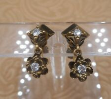 Art Deco Diamond and Solid Gold Dangle Earrings, Screw Backs, LOVELY!