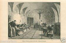 Monastery Monk study Monastère Moine à l'étude par Gide GRAVURE OLD PRINT 1866