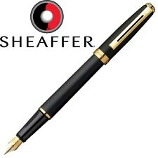 SHEAFFER PRELUDE MATTE BLACK GOLD TRIM FOUNTAIN PEN MEDIUM NIB 346-0M - GIFT BOX