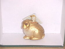 Brown cottontail rabbit Old World Christmas glass ornam