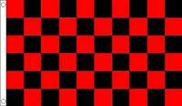 5' x 3' Black and Red Check Flag Checkered Checked Motor Racing Race Banner