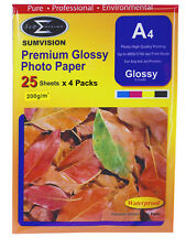 A4 Premium Glossy Sumvision Inkjet Deskjet Photo Paper 200gsm 100 sheets 4Packs