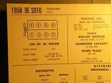 1958 DeSoto Firesweep LS1-L 350 CI V8 SUN Tune Up Chart Excellent Condition!