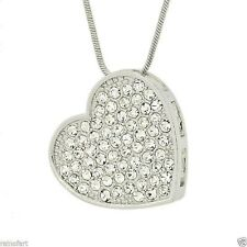 W Swarovski Crystal Clear Heart Pendant Elegant Gift Love New Necklace