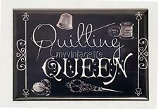 "QUILTING QUEEN Vintage Chalkboard Country Style 2"" x 3"" Fridge MAGNET Chalk"