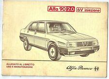 1984 ALFA ROMEO 90 2.0 6V iniezione CEM 1985-88 supplemento uso manutenzione