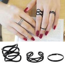 3pcs Fashion Women's Metall Black Metal Above Knuckle Finger Ring Set
