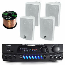 "Dual 4"" White 200W 3Way Speakers,Bluetooth AM FM Receiver,50FT Wire, Bundle"