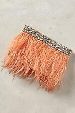 New Anthropologie Feathered Fete Clutch Peach Evening Bag Purse NIP