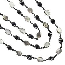 "62"" Black onyx & Mother Of Pearl Faceted Beads Knotted Long Necklace #90022"