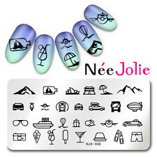 Nail Art Stamping Plate Image Template Rectangle Manicure Travel Design NJX-006