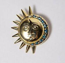 Gold Tone Sun / Moon Face Pin Brooch w Blue Enamel Stars