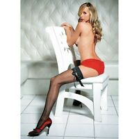 LEG AVENUE - Sexy Fishnet Hold Ups with Satin Ribbon - One Size - Black BNIP