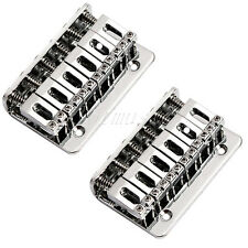 2pcs Chrome Fixed Hardtail Hard Tail Bridge For 6 String Top Load Guitar Parts