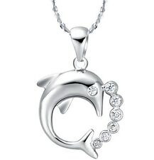 "Sterling Silver Heart Dolphin Cubic Zirconia Pendant Necklace 18"" Chain Gift L39"