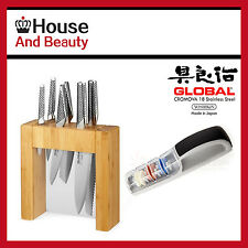 Global Ikasu 7 Piece Knife Block Set + 3 Stage Minosharp Ceramic Water Sharpener