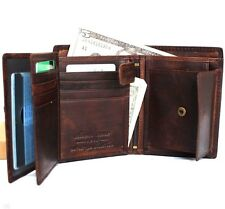 Men's Natural Leather wallet 6 credit card slots 3 id windows Trifold RFID Davis