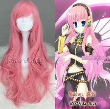 Anime Vocaloid long pink curly Megurine Luka Cosplay Party full Wig + gift