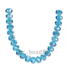 100pcs 6x4mm Sky Blue AB Faceted Glass Crystal Charms Rondelle Loose Beads