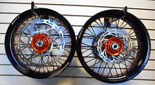 "ORANGE HUB & NIPPLES ON BLACK 17"" SUPERMOTO WHEELS KTM WITH 320 BRAKE ROTOR"