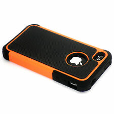 New Orange Heavy Duty Protection Hard Case + Screen Guard For iPhone 4 4S 4G