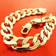 A723 GENUINE REAL 18K  YELLOW G/F GOLD SOLID MENS CURB LINK CUFF BRACELET BANGLE