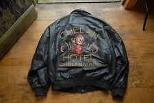Vintage 80's Baseball Letterman Varsity Black Leather Jacket Devil Detail XL
