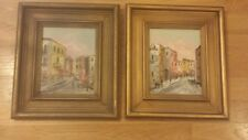 Vintage Framed Oil Paintings on wood SIGNED Jinelli - Set of 2