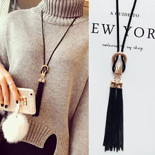 Long Women's Charm Black Tassel Pendant Necklaces Sweater Chain Necklace Gift FT