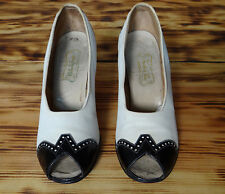 1930s White and Black Patent leather Spectators Size 4 Vintage Peep Toe Shoes