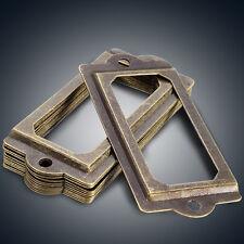 10Pcs Vintage Brass Label Pull Drawer Cabinet Frame Handle File Name Card Holder