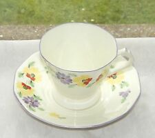 RH & SL Plant Tuscan China 1920s Cup and Saucer  Hand Painted Art Deco