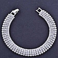 Tennis Bracelet Silver Plated Wide 12mm Clear Crystal Wedding Womens