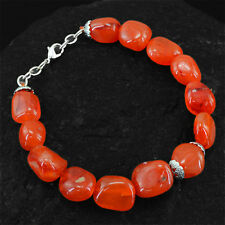 Superb Quality 230.65 Cts Natural Orange Carnelian Untreated Beads Bracelet
