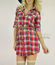 CHIC Pink Navy COUNTRY COWGIRL Plaid Tunic Button Down Top Shirt Blouse Dress S