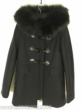 ZARA NAVY BLUE DUFFLE COAT WITH FAUX FUR COLLAR SIZE SMALL REF 7904 744