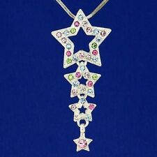 Star W Swarovski Crystal 3 Wish Star Multi Color Pendant Necklace Jewelry Gift