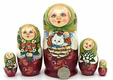Russia Stacking Doll hand painted GIRL & White Kitten MATT Matrioshka Veselova 5