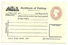 QUEEN VICTORIA 1/2D PINK UNUSED CERTIFICATE OF POSTING 5 LINES CPP2 1878