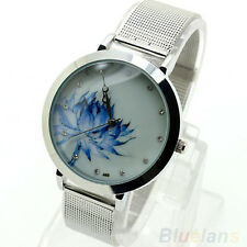 Hot Women's Chinese Style Blue Lotus Stainless Steel Quartz Mesh Band Wristwatch