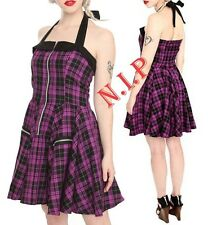 HELL BUNNY Plaid Halter Dress Hot Topic Retro Swing Party Goth Pin Up Rockabilly
