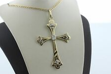 12K 500 Rare White and Yellow Gold Etched Victorian Style Cross Charm Pendant
