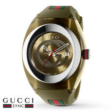 NEW GUCCI SYNC XXL KHAKI DIAL KHAKI RUBBER STRAP MEN'S WATCH YA137106