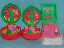 VINTAGE POLLY POCKET 1993-95 CHRISTMAS WREATH COMPACTS WINTER CHALET MINI TOYS
