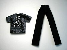 Dancing Skeleton Shirt + Black Pants made to fit Monster High Boy Doll ~ USA #19