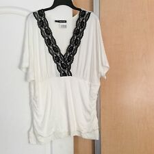 New - Maurices - White With Black Lace Women Top plus Size 2(2X)