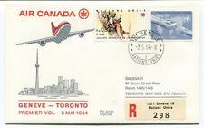 FFC 1984 Air Canada First Flight Geneve Toronto Canada REGISTERED Fao Onu