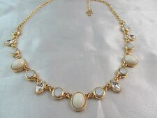 NWT MONET GOLD with  CRYSTAL & WHITE STONES STATEMENT NECKLACE, Stunning